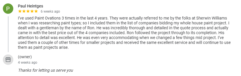 Another 5 star review for Paint Ovations of Plano, Texas.  Painting Contractor in the Dallas-Fort Worth area.