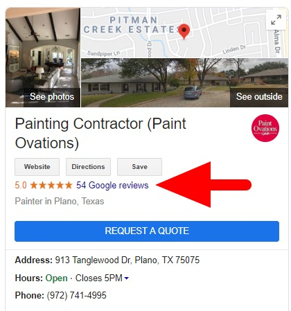 Paint Ovations Google Reviews.